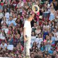 Pharrell Williams sur scène à Wembley lors du Capital FM Summertime Ball. Londres, le 21 juin 2014.