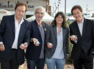 Estelle Denis et Raymond Domenech : Très motivés pour une pétanque entre amis !