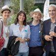Églantine Éméyé, Estelle Denis, Richard Posso et Raymond Domenech, au 2e Trophée de la Pétanque Gastronomique à Paris, le 27 juin 2014.