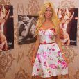 """Victoria Silvstedt dans son stand ou elle présente sa collection de lingerie """"Very Victoria Silvstedt"""" dans le cadre de la manifestation """" MOdeMC """", à Monaco le 28 juin 2014."""