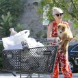 """Exclusif - Miley Cyrus et sa soeur Noah vont faire des courses à Los Angeles, le 29 juin 2014. Miley porte son nouveau petit chien Emu dans ses bras. Les deux soeurs se sont d'abord rendues dans une épicerie puis dans le magasin """"Bed Bath and Beyond""""."""