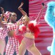 """Miley Cyrus en concert à New York, dans le cadre de son """"Bangerz Tour"""" à New York, le 1er août 2014."""