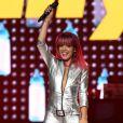 """Lily Allen en concert à New York dans le cadre du """"Bangerz Tour"""" de Miley Cyrus, le 1er août 2014."""