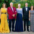 La princesse Mary, le prince Henrik, la reine Margrethe II, le prince Joachim et la princesse Marie de Danemark le 11 septembre 2014 dans l'orangerie du château de Fredensborg pour le gala en l'honneur de la Croix-Rouge danoise.