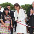 Exclusif - La princesse Caroline de Hanovre, lumineuse, inaugurait le 10 septembre 2014 la rue Princesse-Caroline après travaux d'embellissement, dans le quartier de la Condamine à Monaco.
