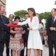 Exclusif - La princesse Caroline de Hanovre, radieuse, inaugurait le 10 septembre 2014 la rue Princesse-Caroline après travaux d'embellissement, dans le quartier de la Condamine à Monaco.