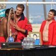 David Hasselhoff sur le plateau de tournage de Celebrity Death Pool aux côtés de Jon Lovitz et Ken Jeong à Venice Beach, le 23 septembre 2014