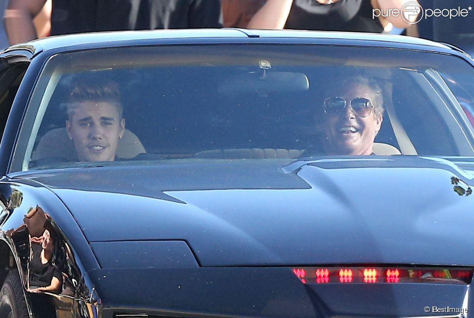 David Hasselhoff et Justin Bieber, hilares dans un remake de K 2000 pour un projet vidéo secret, à Venice Beach, le 23 septembre 2014