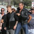 David Hasselhoff et Justin Bieber dans un remake de K 2000 pour un projet vidéo secret, à Venice Beach, le 23 septembre 2014