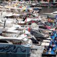 Le prince Albert II de Monaco, tout juste rentré de New York, inaugurait le Monaco Yacht Show le 24 septembre 2014 au port Hercule.
