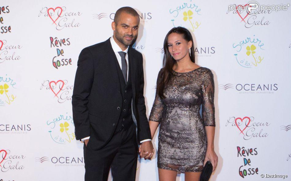 """Tony Parker et sa femme Axelle - 9e édition du """"Par Coeur Gala"""" à Lyon le 25 septembre 2014."""