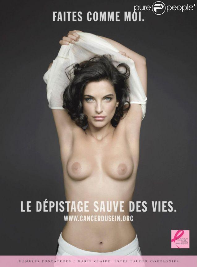 """Pauline Delpech seins nus pour l'association """"Le Cancer du Sein, Parlons-en !"""" - septembre 2014."""