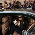 Miranda Kerr à l'issue du défilé Sonia Rykiel printemps-été 2015, à la boutique Sonia Rykiel du boulevard Saint-Germain. Paris, le 29 septembre 2014.