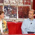 Jeannie Longoet son mari Patrice Ciprelli le 22 mai 2002 lors de l'enregistrement de l'émission Vivement Dimanche, à Paris