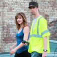 """Katharine McPhee sur le tournage de la série télé """"Sorpion"""" à Los Angeles le 8 septembre 2014."""