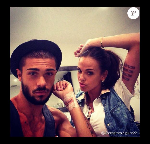 Vanessa Lawrens et Julien Guirado (Secret Story 7, Les Anges de la télé-réalité 6) ont dévoilé leur nouveau tatouage. Octobre 2014.