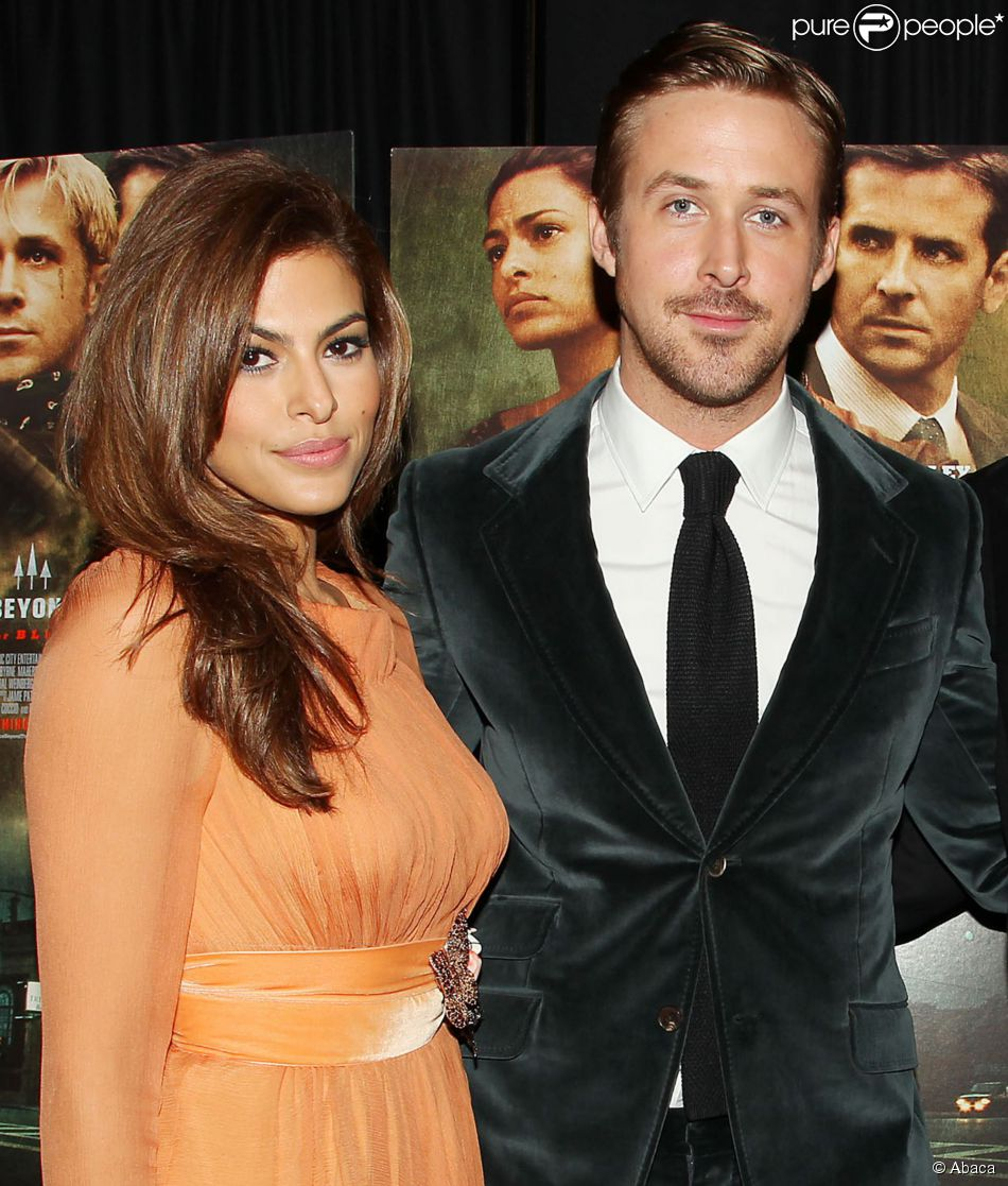 Eva Mendes et Ryan Gosling à New York le 28 mars 2013.