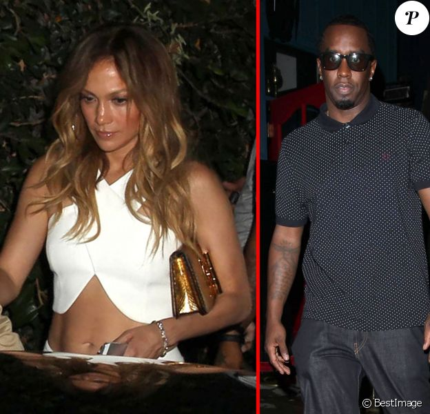 Jennifer Lopez et Sean Combs (P. Diddy) sortent du nightclub Hooray Henry à West Hollywood, le 9 octobre 2014