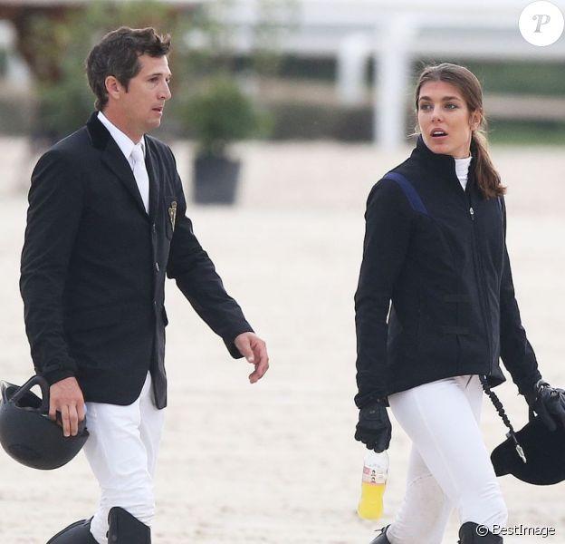 """Charlotte Casiraghi et Guillaume Canet, complices lors du """"GPA Jump Festival"""" de Cagnes-sur-Mer, le 10 octobre 2014"""