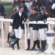 """Charlotte Casiraghi et Guillaume Canet lors du """"GPA Jump Festival"""" de Cagnes-sur-Mer, le 10 octobre 2014"""