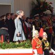 Le prince William et Kate Middleton assistent avec le président de la république de Singapour, Tony Tan Keng Yam, et sa femme Mary Chee Bee Kiang ainsi que le premier ministre britannique David Cameron, à la parade des Horse Guards à Londres. Le 21 octobre 2014