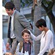 """Halle Berry, Goran Visnjic et Pierce Gagnon sur le tournage de """"Extant"""" à Los Angeles, le 17 mars 2014"""