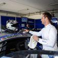 Exclusif - David Hallyday lors de la finale du Championnat de France F4 GT Tour au circuit Paul-Ricard au Castellet le 25 octobre 2014