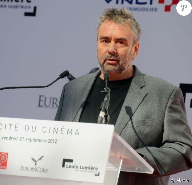 Luc Besson lors de l'inauguration de la Cité du cinéma à Saint-Denis le 21 septembre 2012