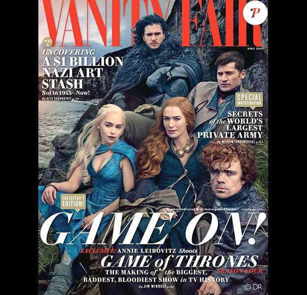 "Les stars de ""Game of Thrones"" - Peter dinklage, Lena Headey, Kit Harington, Emilia clarke et Nikolaj coster Waldau - en couverture du magazine américain ""Vanity Fair"", avril 2014."