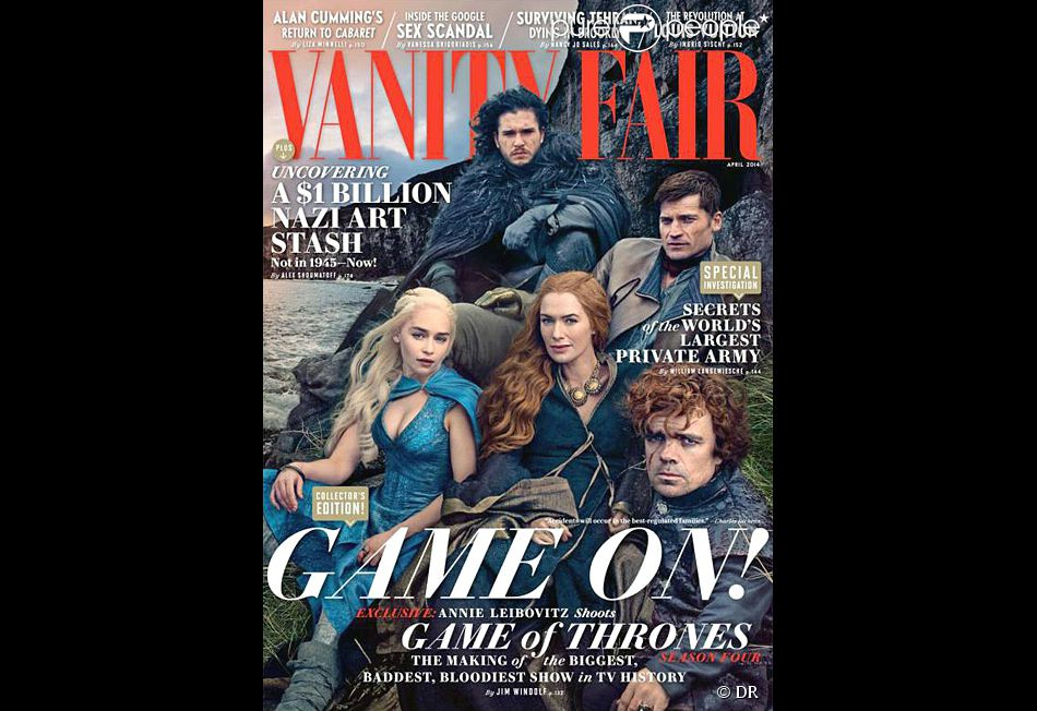 "Les stars de ""Game of Thrones"" - Peter dinklage, Lena Headey, Kit Harington, Emilia clarke et Nikolaj coster Waldau - en couverture du magazine américain ""Vanity Fair"", avril 2014."