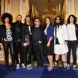 Le groupe Shaka Ponk décoré des insignes de chevalier de l'ordre des Arts et des Lettres par la ministre Aurélie Filippetti dans les salons du ministère de la Culture, à Paris le 18 mars 2014.