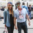 Matt LeBlanc et Lolo Jones dans le paddock du Grand Prix des Etats-Unis à Austin, le 2 novembre 2014