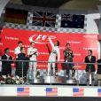 Lewis Hamilton sur la plus haute marche du podium devant Nico Rosberg et Daniel Ricciardo après le Grand Prix des Etats-Unis à Austin, le 2 novembre 2014