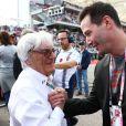 Bernie Ecclestone et Keanu Reeves dans le paddock du Grand Prix des Etats-Unis à Austin, le 2 novembre 2014