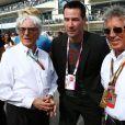 Bernie Ecclestone, Mario Andretti et Keanu Reeves dans le paddock du Grand Prix des Etats-Unis à Austin, le 2 novembre 2014