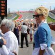 Pamela Anderson dans le paddock du Grand Prix des Etats-Unis à Austin, le 2 novembre 2014