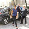 Rachida Dati arrive Place Beauvau, le 10/09/08 pour l'anniversaire de MAM