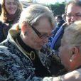 Hélène Mandrou, ancienne mairesse de Montpellier et Lili Baliardo, soeur des trois Gipsy Kings - Obsèques de Manitas de Plata, célèbre guitariste de la musique gitane et du flamenco, en présence de sa famille et d'un millier de personnes au funérarium et au cimetière de Grammont, à Montpellier, le 8 novembre 2014.