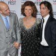 Edoardo Ponti, Sophia Loren et Carlo Ponti lors du AFI FEST à Hollywood, le 12 novembre 2014.