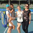 Martina Navratilova et sa fiancée Julia Lemigova accompagnée de ses deux filles, Victoria et Emma, lors du 25e Chris Evert / Raymond James Pro-Celebrity Tennis Classic au Delray Beach Tennis Center de Delray Beach, le 23 novembre 2014
