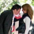Jimmy Fallon et son épouse Nancy avec leur aînée Winnie Rose à New York, le 3 octobre 2013.