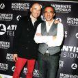 """Exclusif - Nikos Aliagas et Nicolas Canteloup - Vernissage de l'exposition """"Moments Suspendus"""" de Nikos Aliagas à l'Atlantis TV à Boulogne-Billancourt, le 3 décembre 2014."""