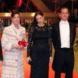 Le prince Albert II de Monaco et la princesse Caroline de Hanovre, Andrea Casiraghi et de son épouse Tatiana Santo Domingo (enceinte) - Gala de la Fête nationale au Grimaldi Forum à Monaco le 19 novembre 2014.