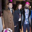 """Virgile Bramly, Audrey Marnay, Sébastien Tellier et sa femme Amandine de la Richardière - Présentation du sac """"Balloon Dog"""" de Jeff Koons pour H&M au centre Pompidou à Paris le 9 décembre 2014."""