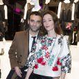 """Virgile Bramly et sa compagne Audrey Marnay - Présentation du sac """"Balloon Dog"""" de Jeff Koons pour H&M au centre Pompidou à Paris le 9 décembre 2014."""
