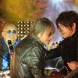 """Exclusif - Jacques Dutronc et Nicola Sirkis du groupe Indochine lors du tournage du documentaire """"Happy Birthday Mister Dutronc"""" à Calvi, le 28 avril 2014."""