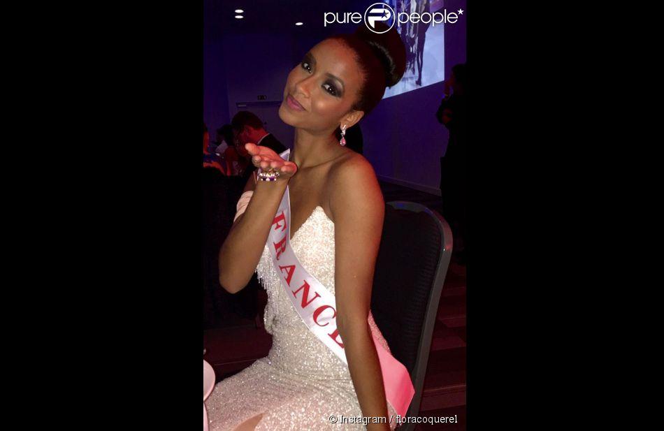 La sublime Flora Coquerel dans les coulisses de l'élection Miss Monde 2014. A Londres, le 14 décembre 2014. Malheureusement, la Française a été éliminée en quart de finale.