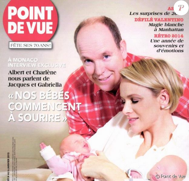 """""""Albert et Charlene nous parlent de Jacques et Gabriella"""" : un entretien exclusif du magazine Point de Vue (édition du 31 décembre 2014) à l'occasion de la naissance des jumeaux princiers à Monaco."""