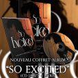 """Coffret album """"So excited"""" de Clara Morgane. La chanteuse propose à ses fans de recevoir un exemplaire dédicacé de son opus. Janvier 2015."""
