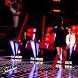 Jenifer fait sa danse de la victoire après avoir récupéré Manon Palmer dans The Voice 4, le samedi 17 janvier 2015, sur TF1